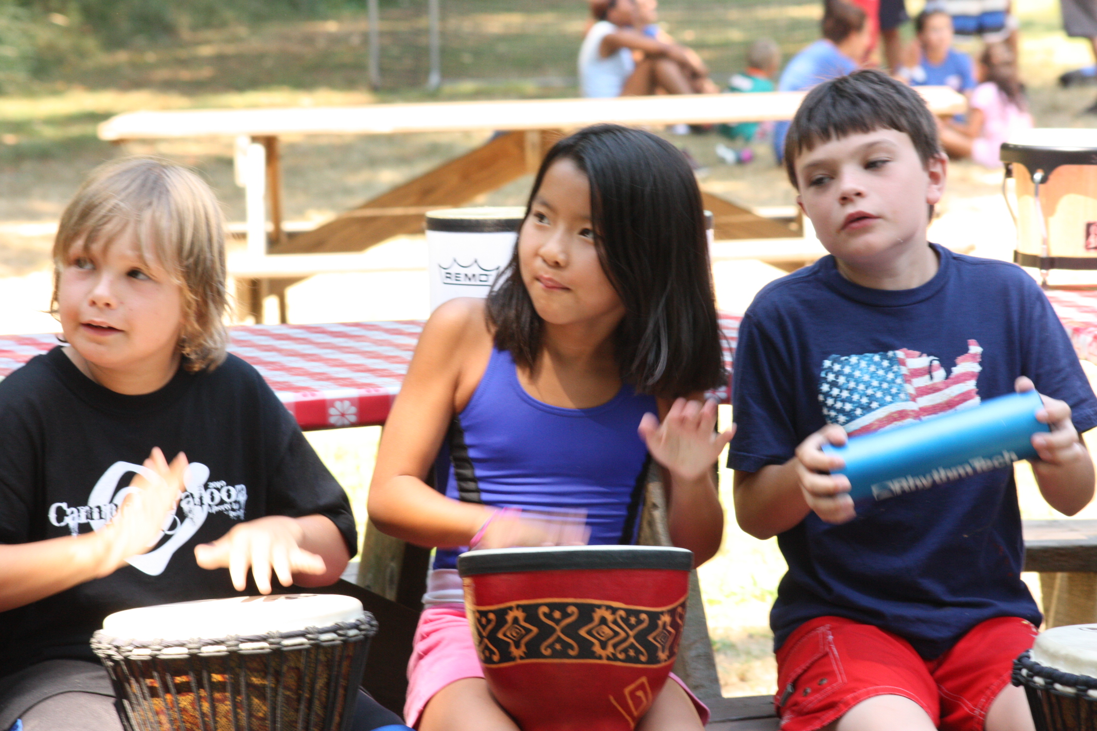 Campers participating in Group Drumming